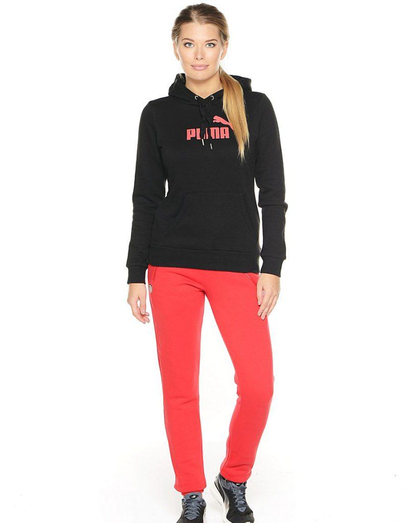 Черно-розовая спортивная женская худи