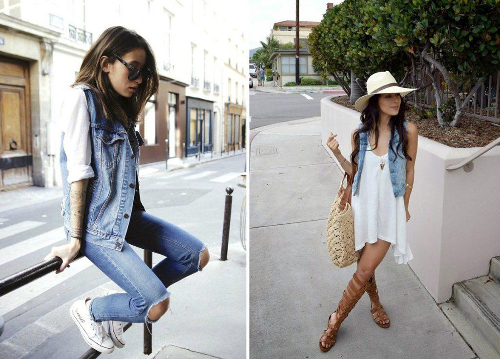 Женские луки с джинсовой жилеткой