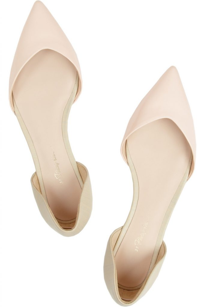 Кремовые балетки с острым носком