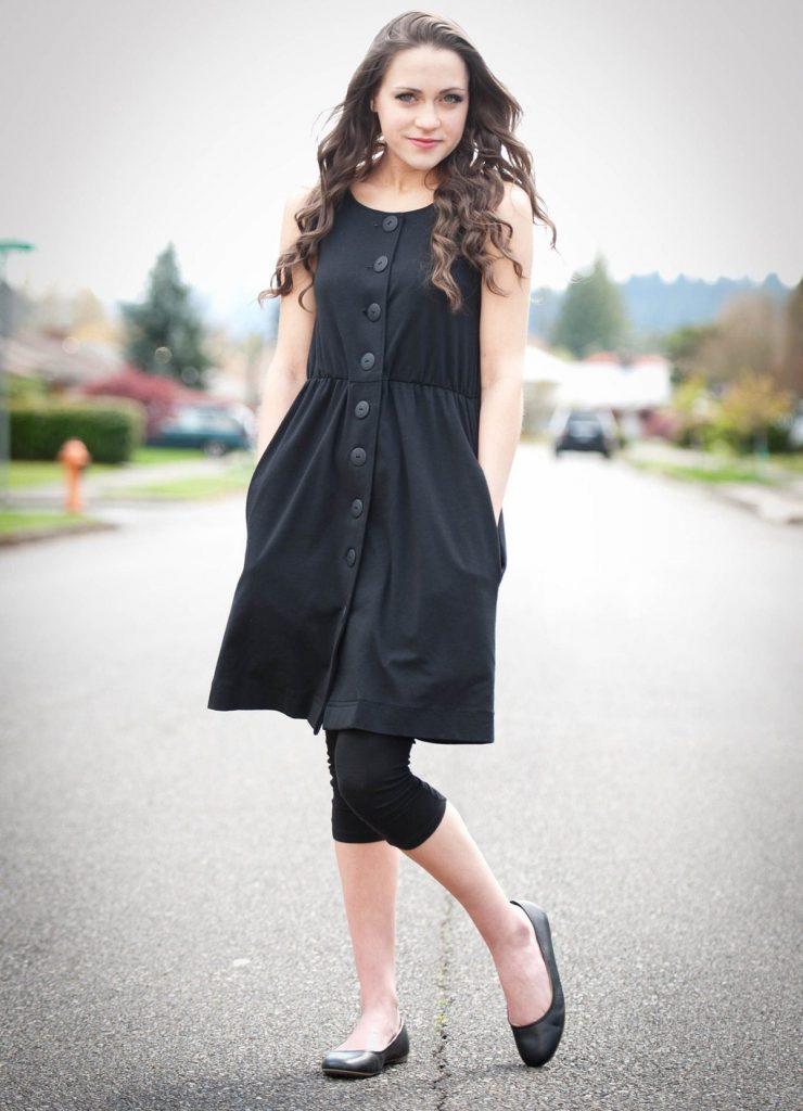 Черные балетки с черным платьем