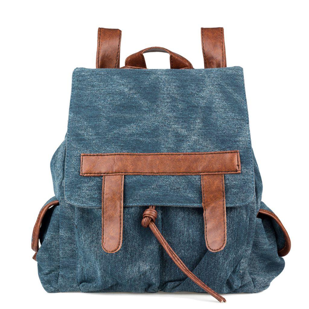 Коричнево-синий рюкзак из джинсы