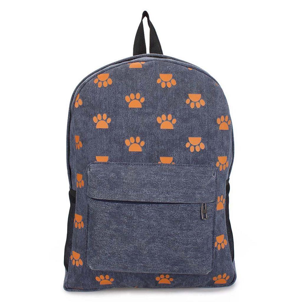 Джинсовый рюкзак с рисунками лапок