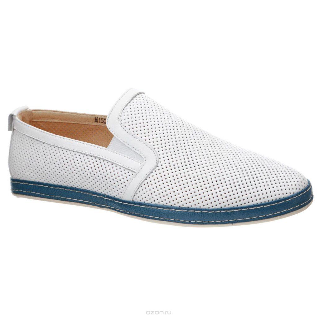 Мужские летние белые туфли с дырочками