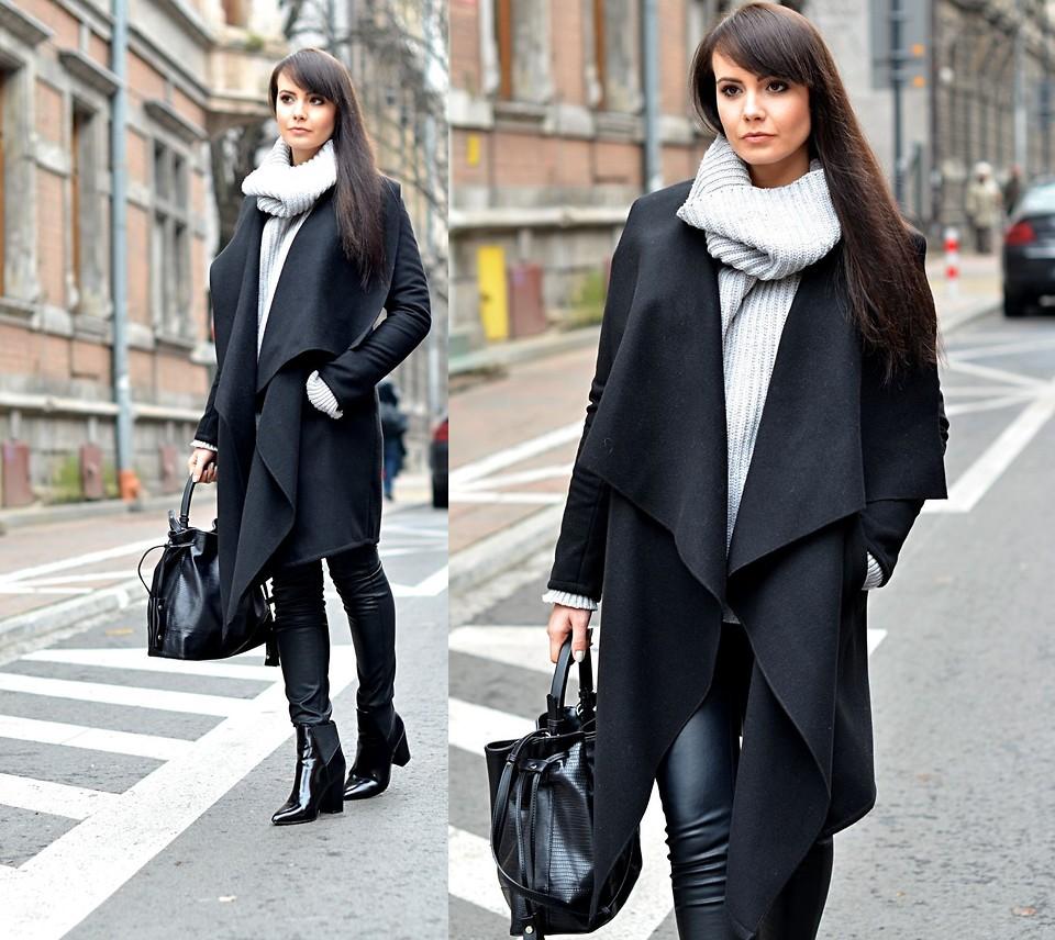 Модный осенний образ с черным пальто, брюками и сумкой