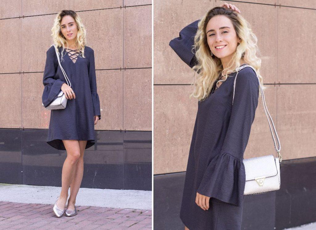 Серые босоножки с серым платьем
