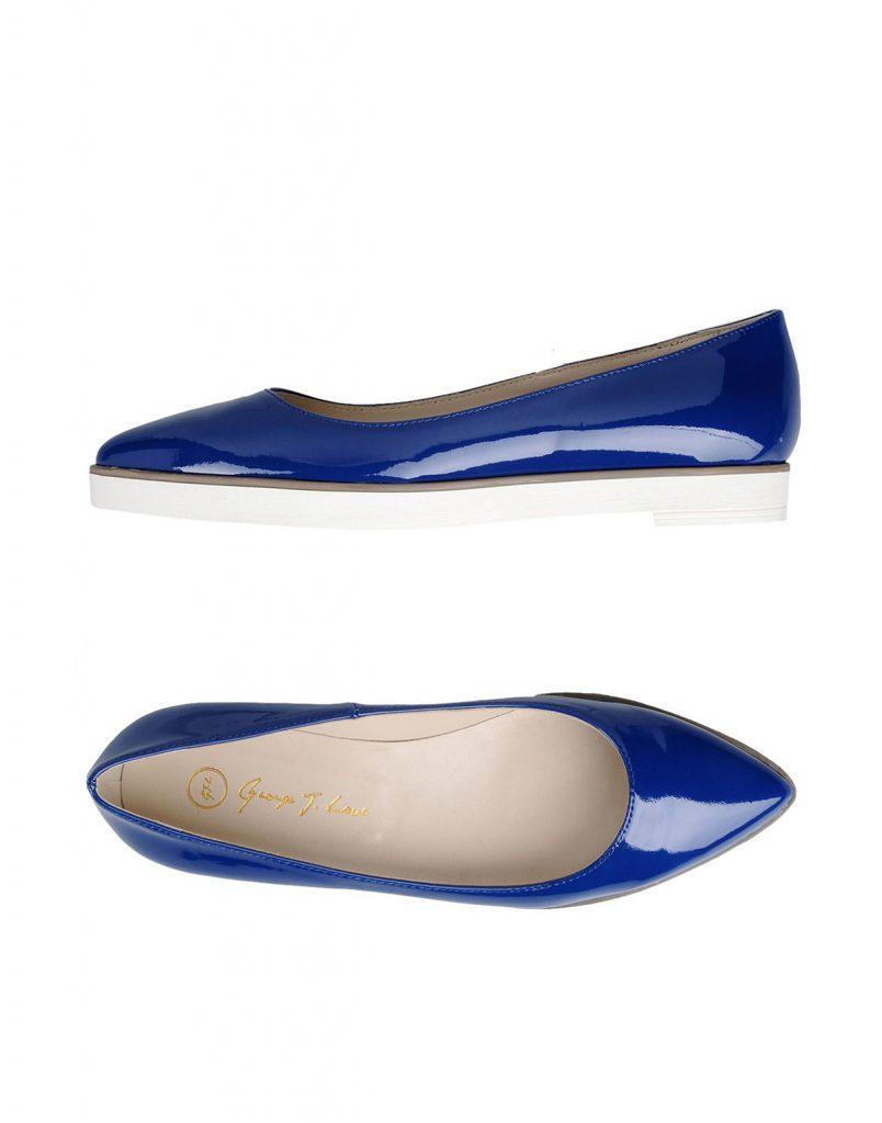 Лакированные синие балетки