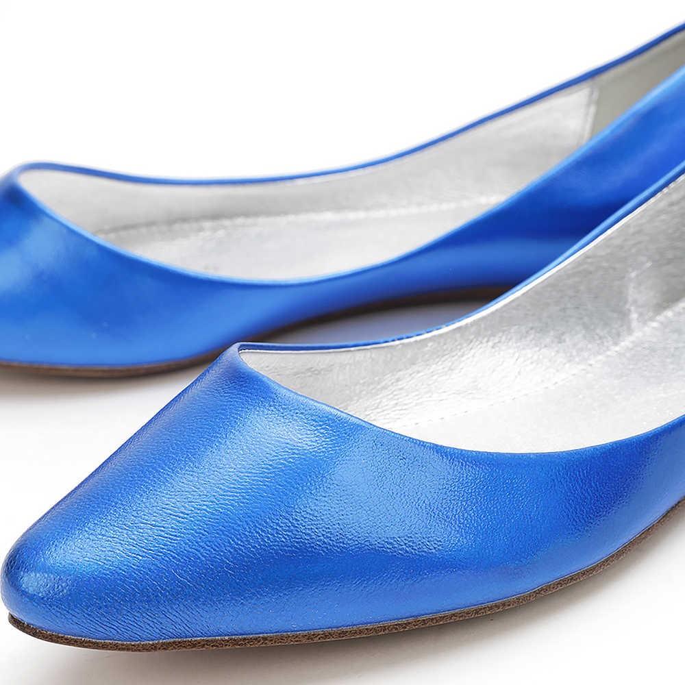 Синие балетки из кожи