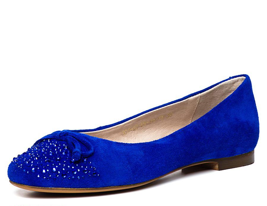 Синие балетки со стразами
