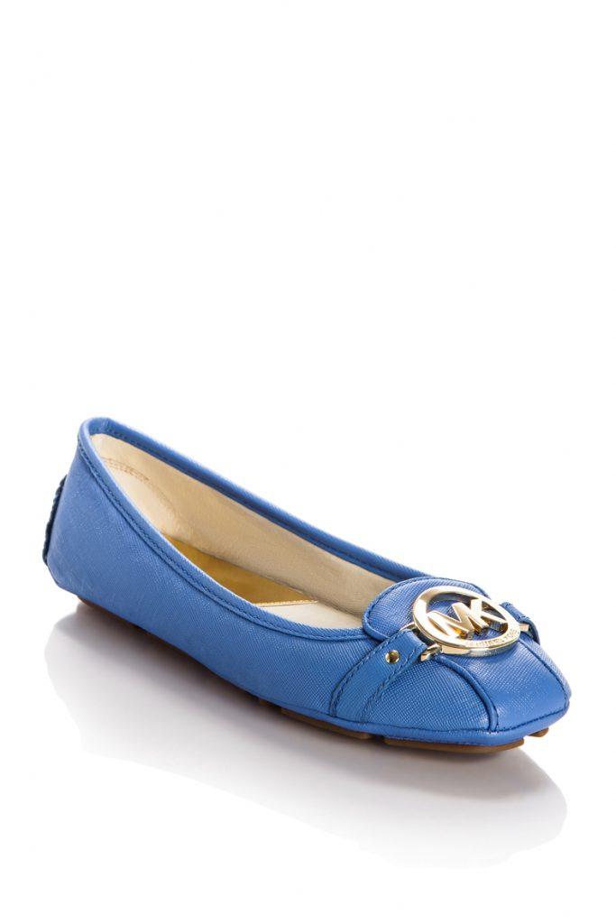 Кожаные синие балетки