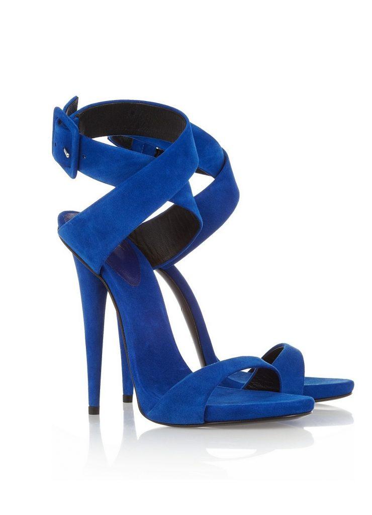 Замшевые синие босоножки