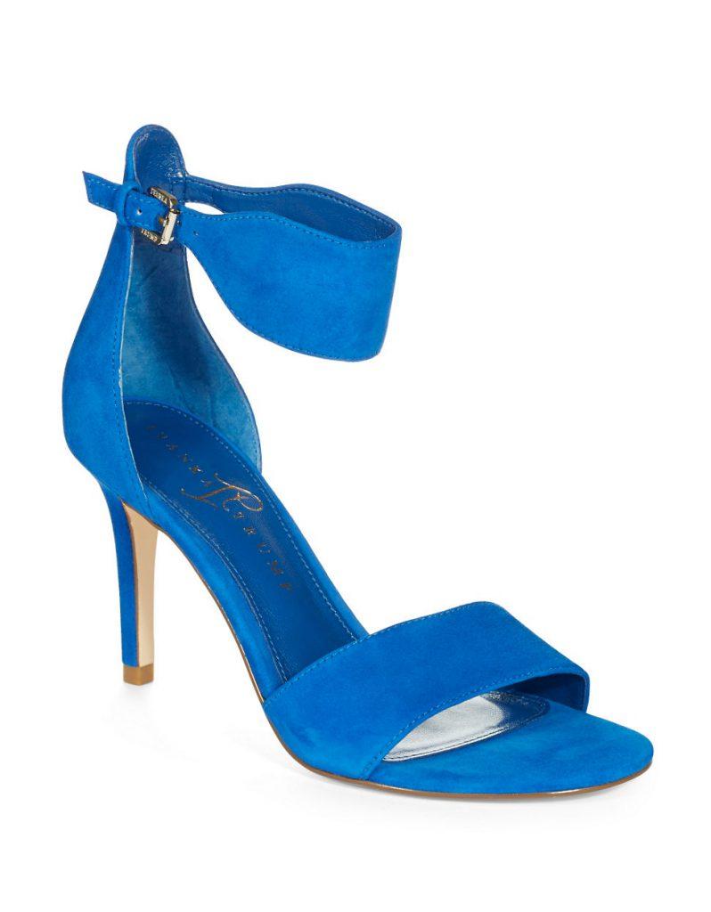 Стильные замшевые синие босоножки