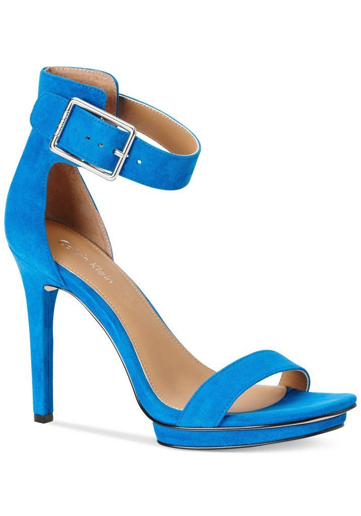 Замшевые синие босоножки с ремешком