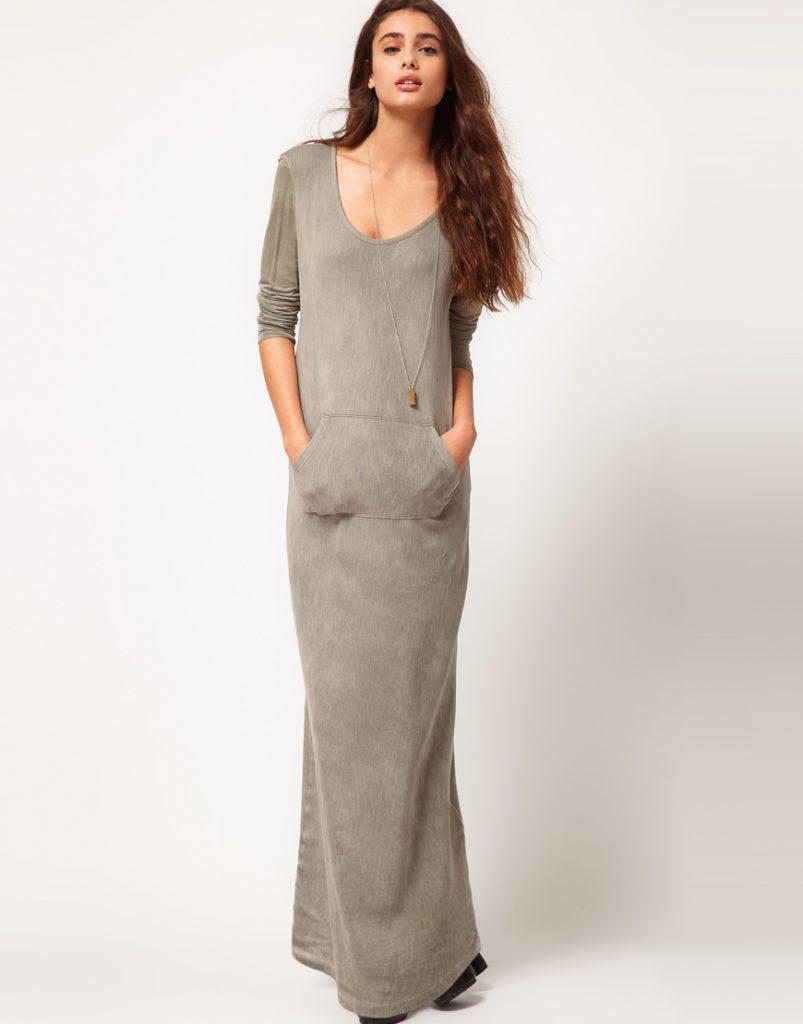 Домашнее длинное трикотажное платье