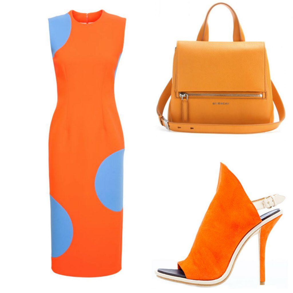 Оранжевые замшевые туфли с платьем