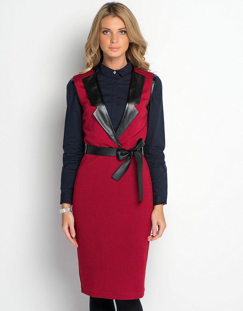 Красно-черное зимнее платье-сарафан
