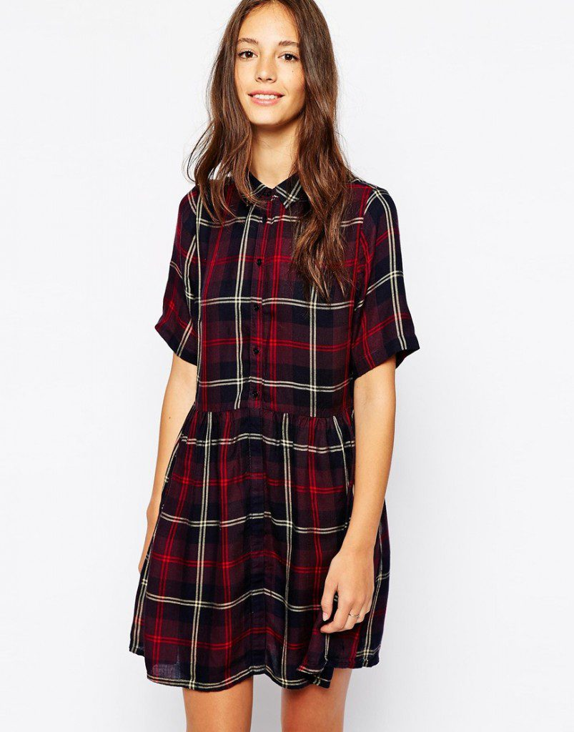 Клетчатое зимнее платье-рубашка