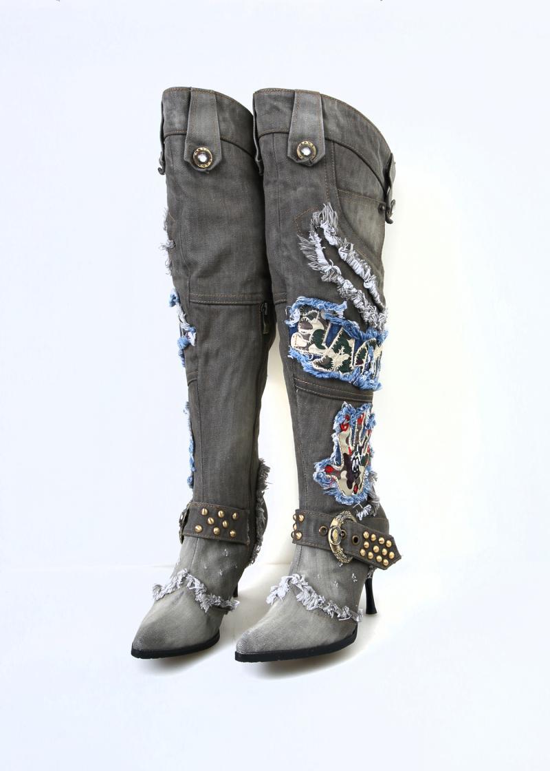 Сапоги из джинсы