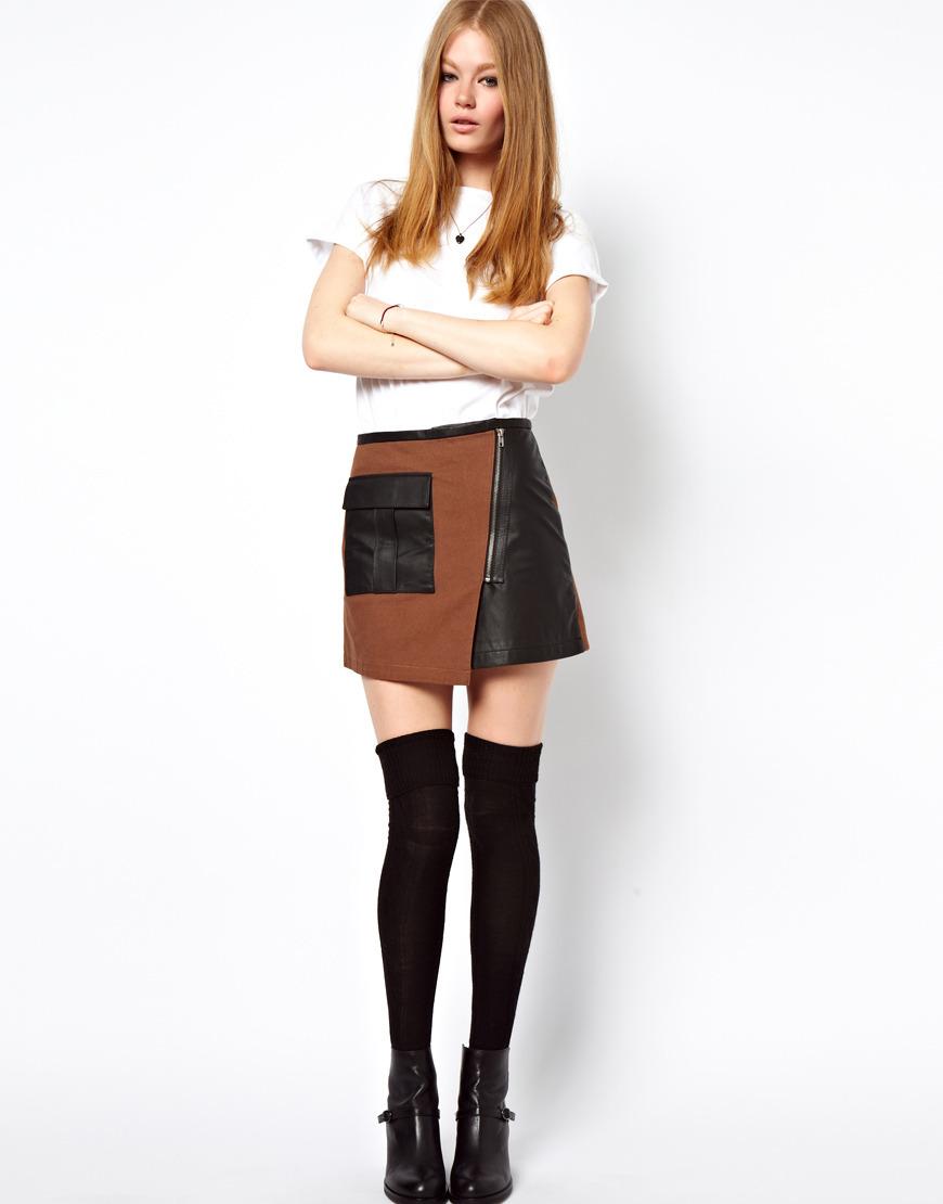 Двухцветная юбка с молнией