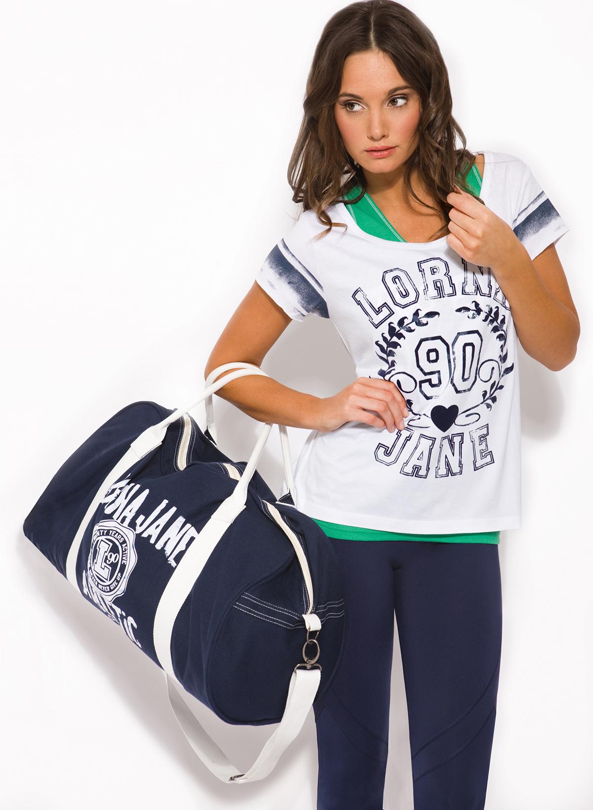 Бело-синяя женская спортивная сумка