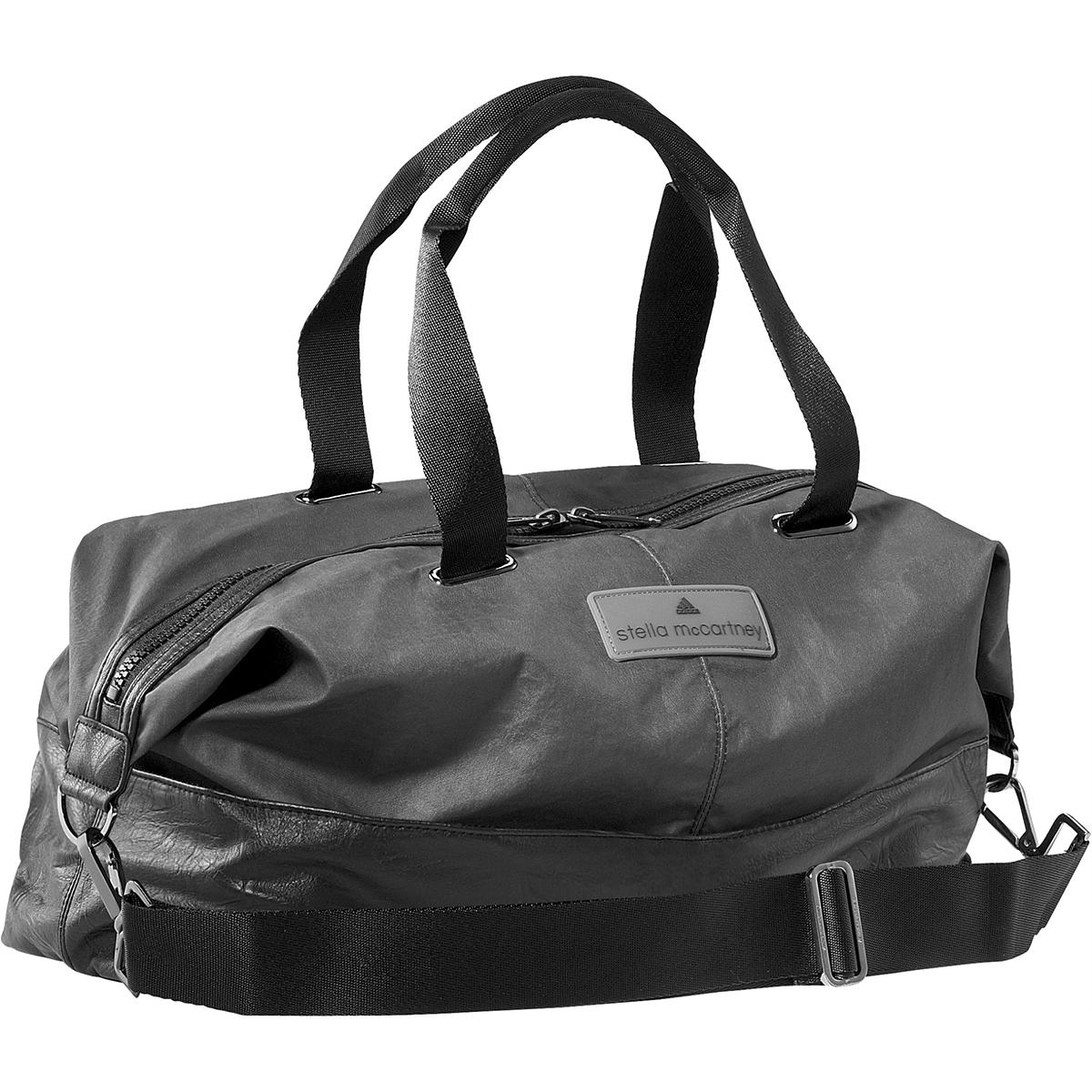 Черная женская сумка из кожи и ткани для спорта
