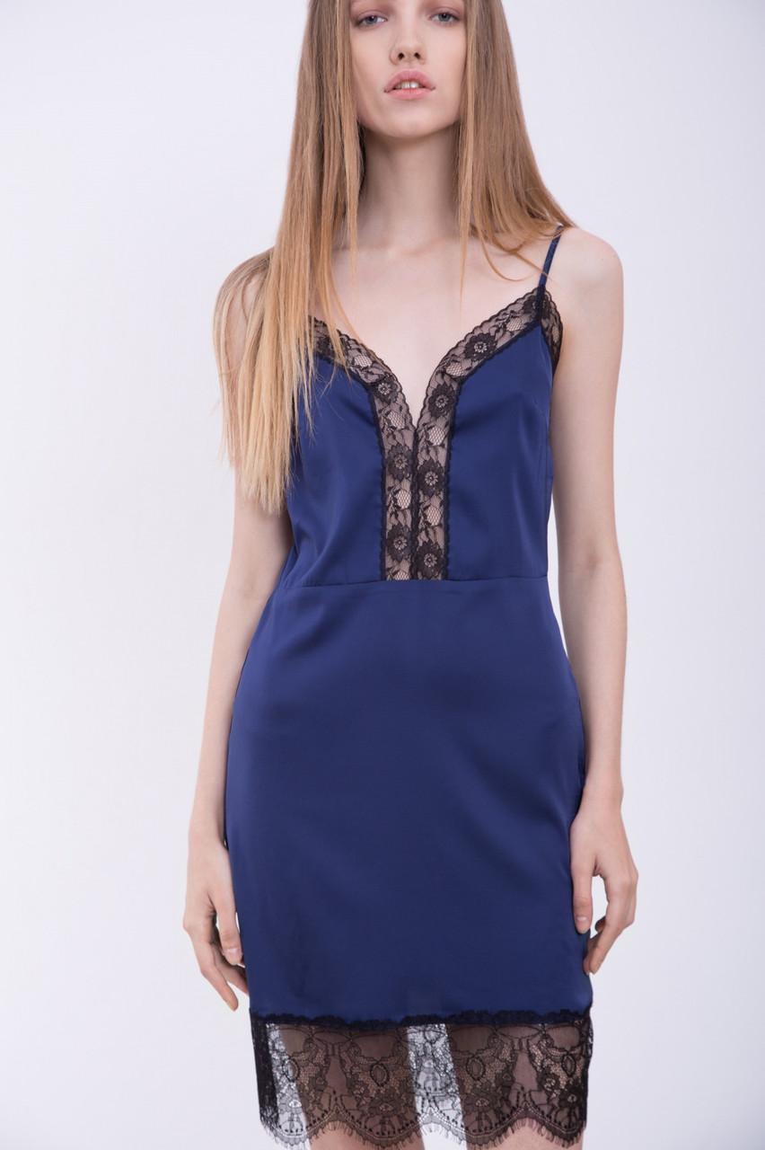 Синее Платье В Бельевом Стиле