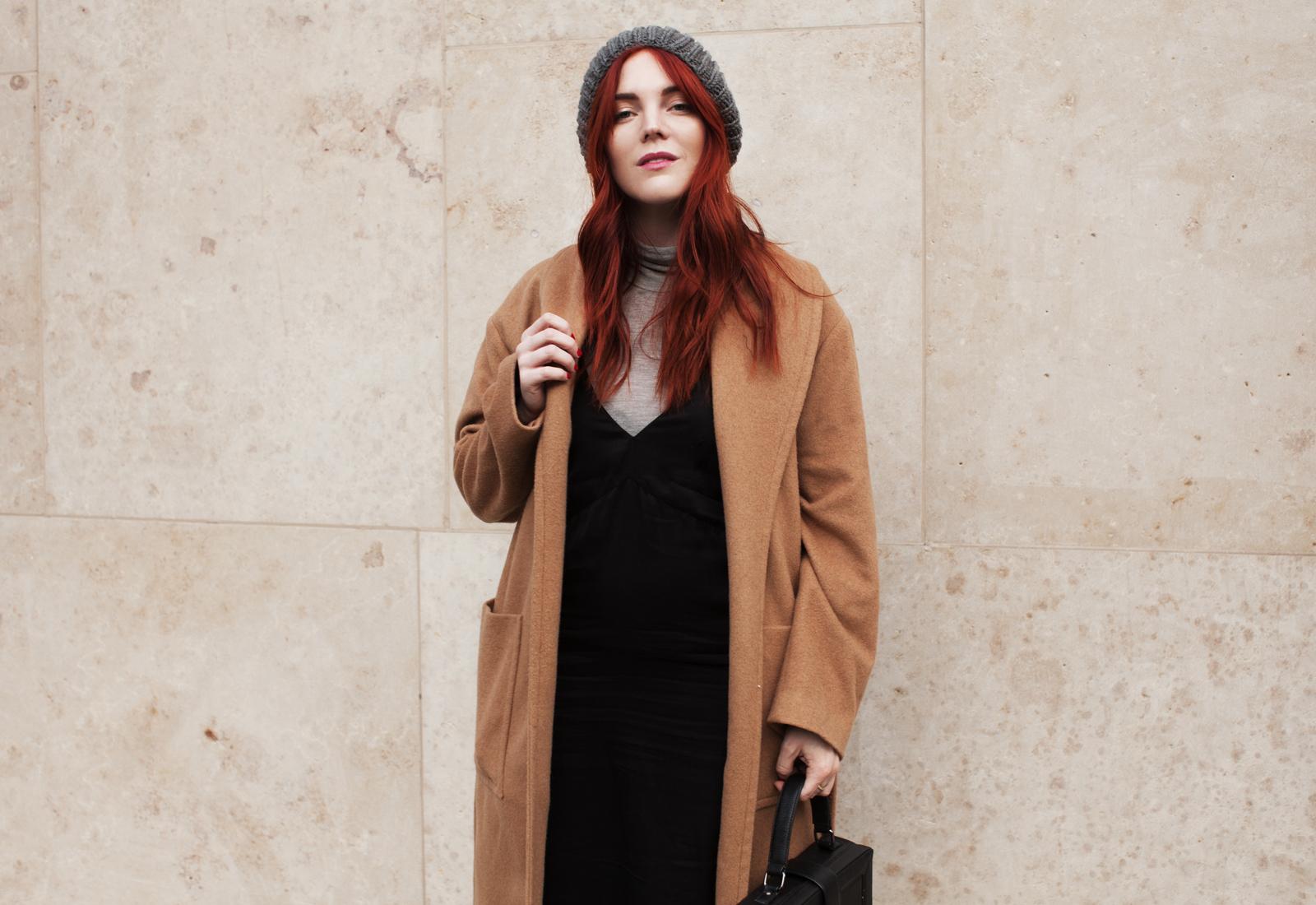 Платье-комбинация в сочетании с пальто