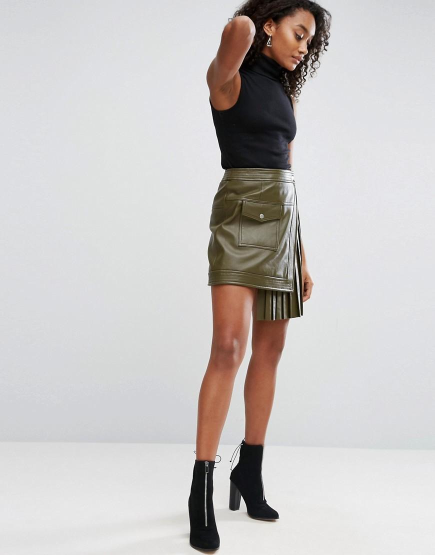 Асимметричная юбка из экокожи