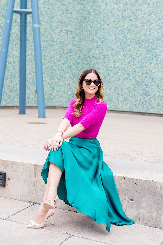 Бирюзовая атласная юбка