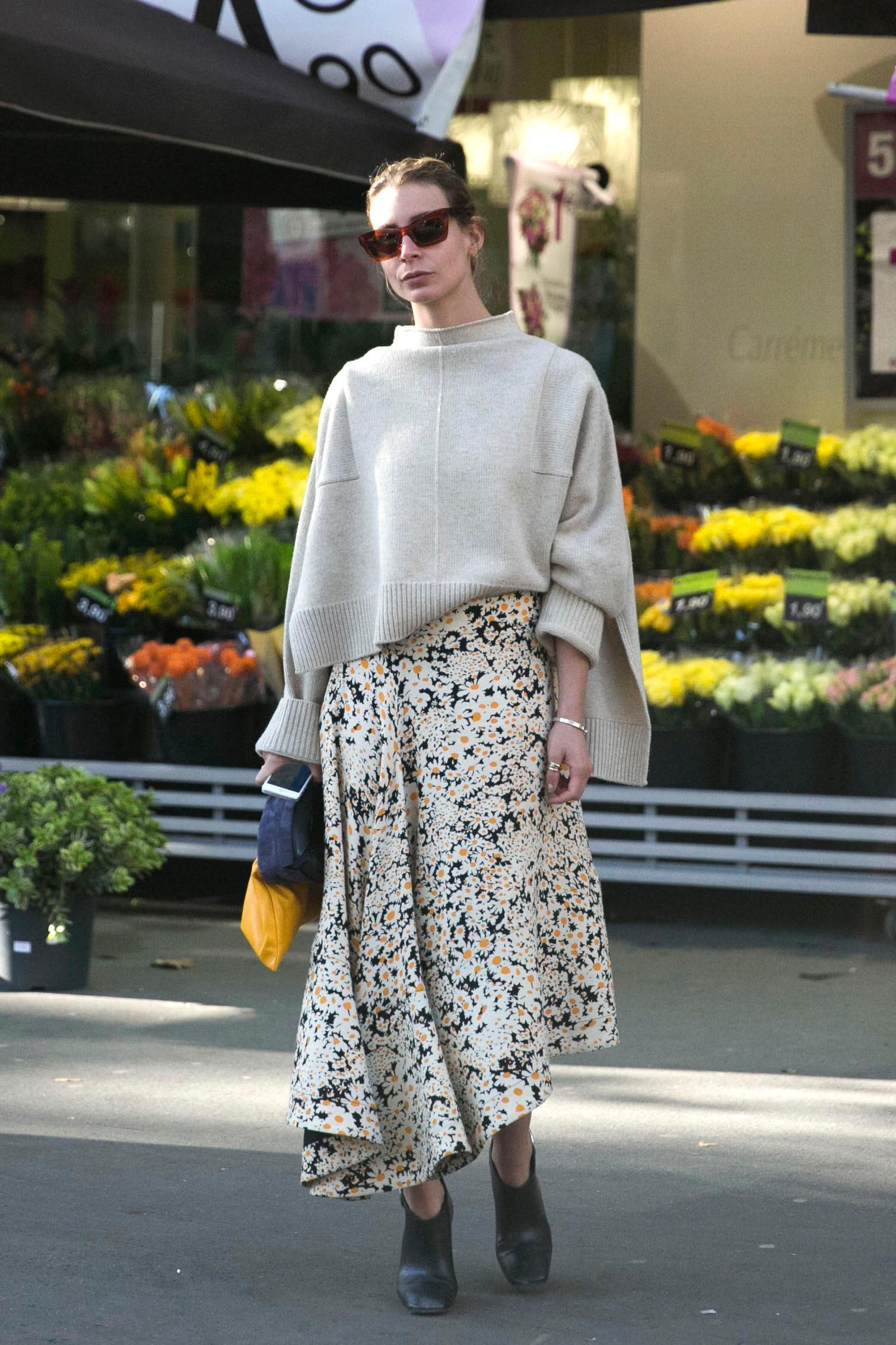 Асимметричная юбка с цветочным принтом