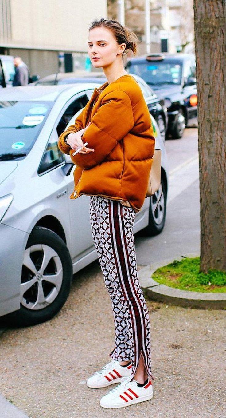 Модные брюки с принтом из хлопка