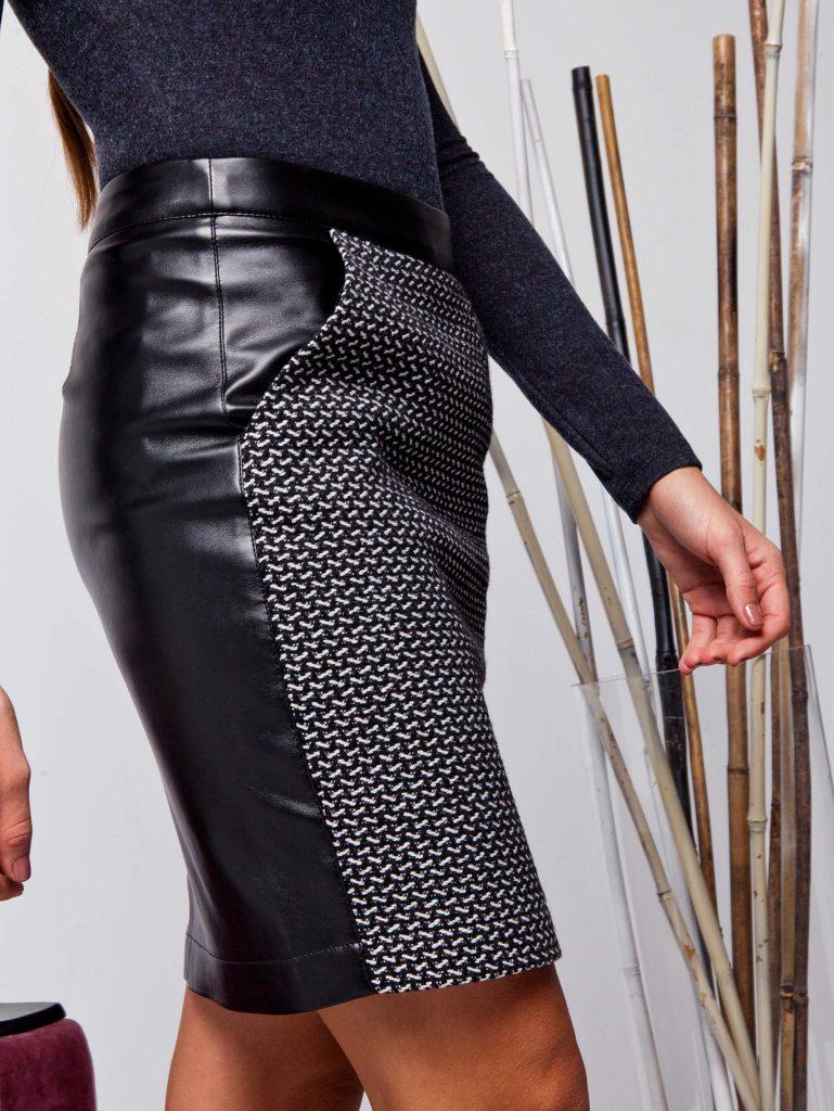 Комбинированная юбка из экокожи