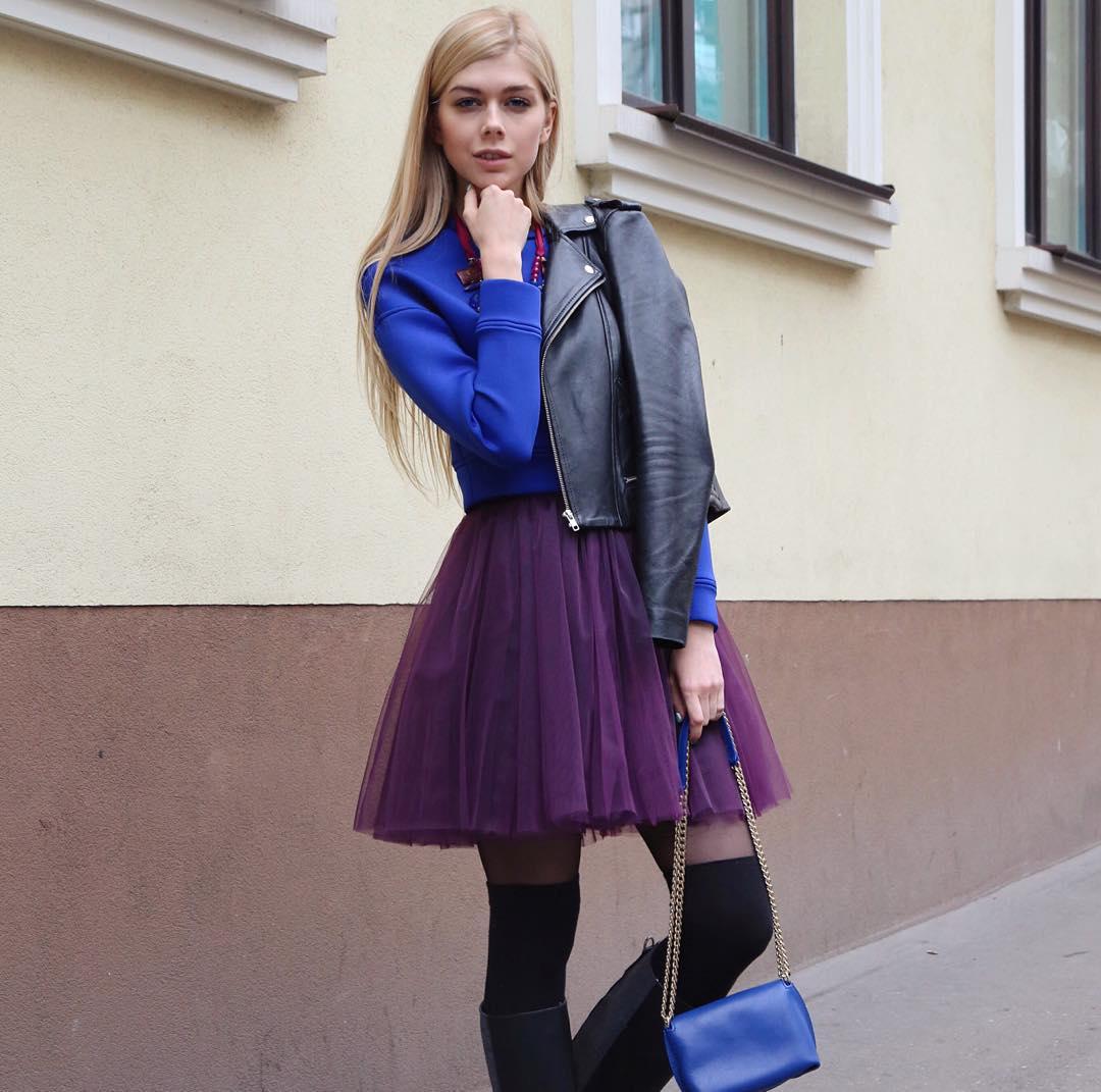 Модная мини юбка из органзы