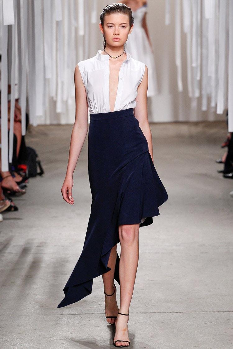 Синяя асимметричная юбка