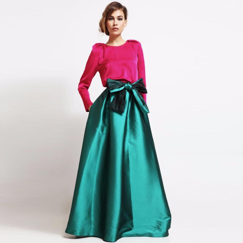 Зеленая атласная юбка макси