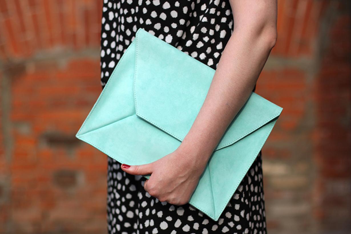 Бирюзовый клатч-конверт