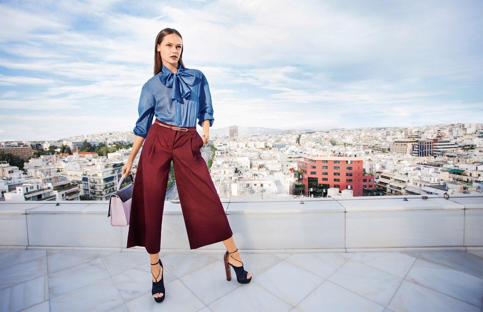 Модные бордовые брюки-кюлоты
