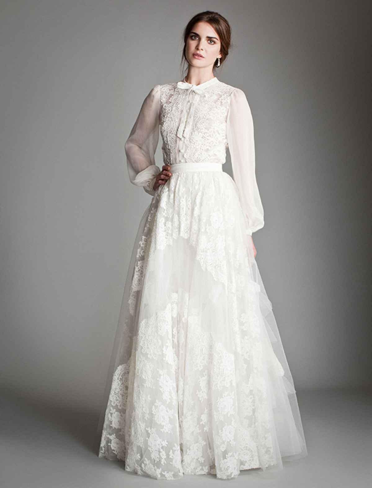 Платье для венчания с рукавами-фонариками