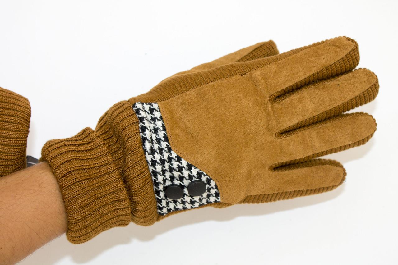 Комбинированные замшевые перчатки