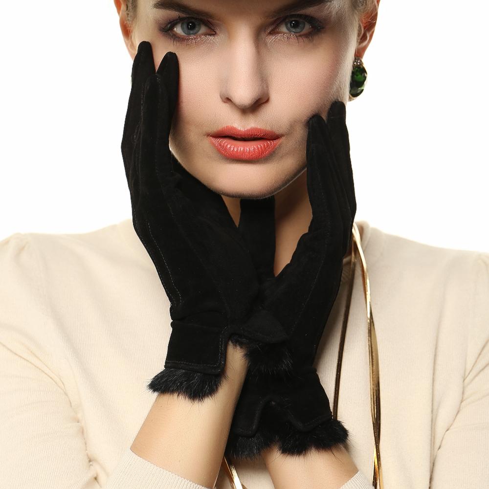 Модные замшевые перчатки с мехом