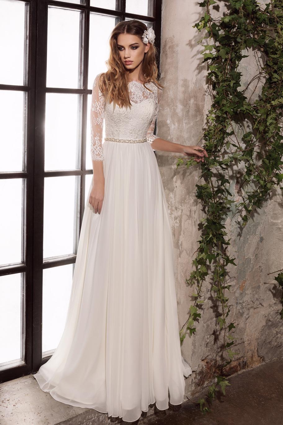 Венчальное платье с рукавами три четверти