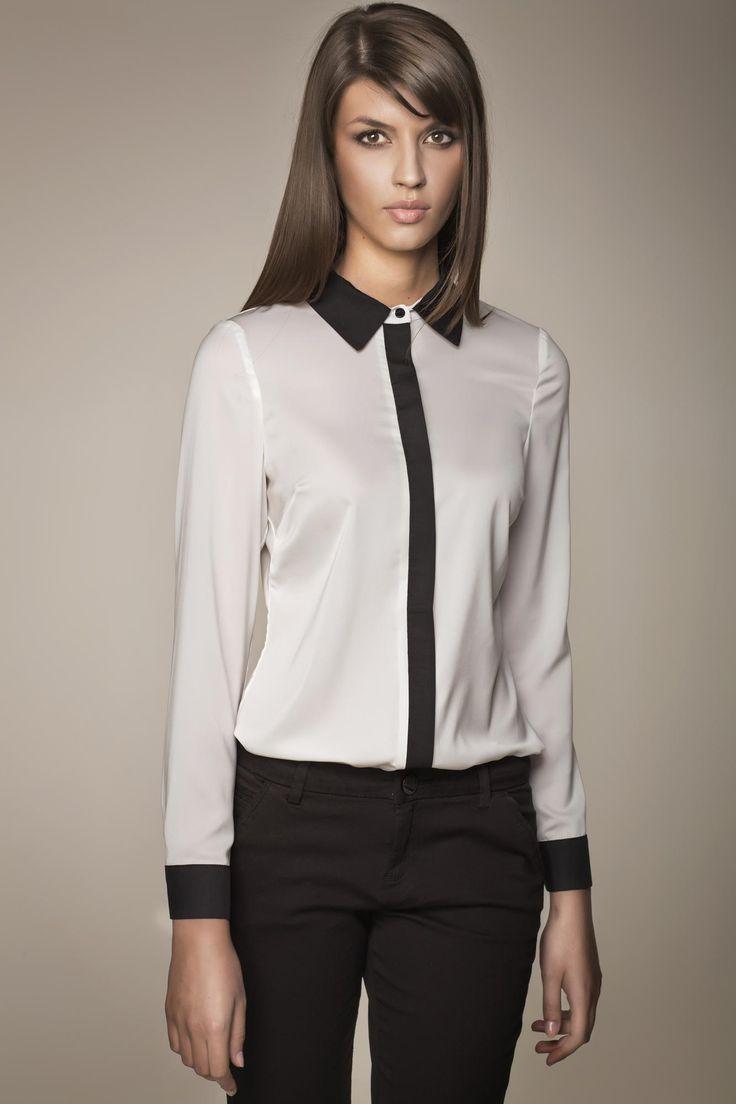 263c3f5f5e1 Черно-белая блузка с рукавом ...