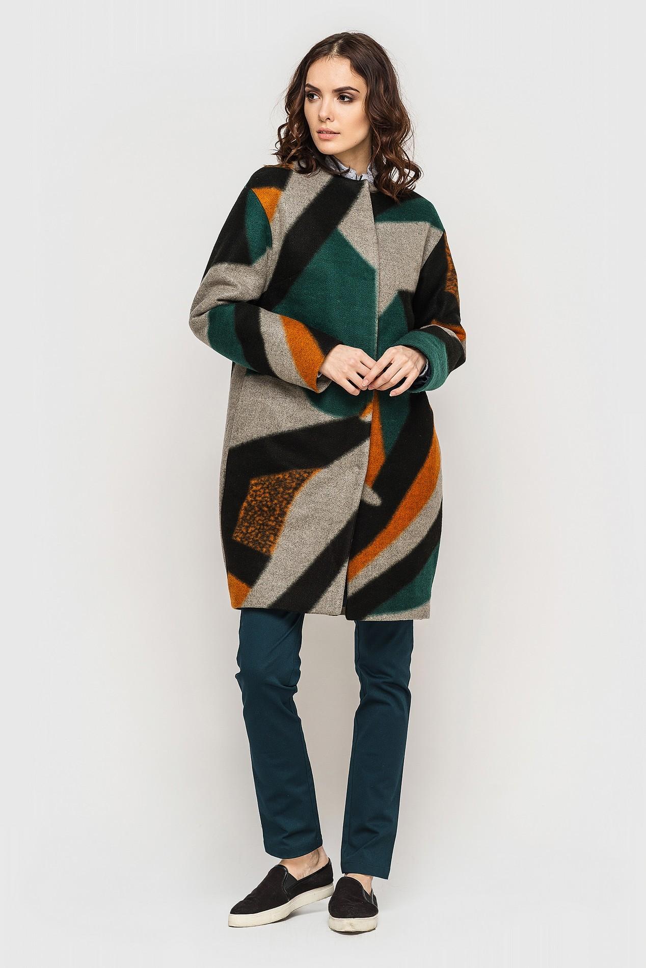 Пальто кокон с геометрическим рисунком