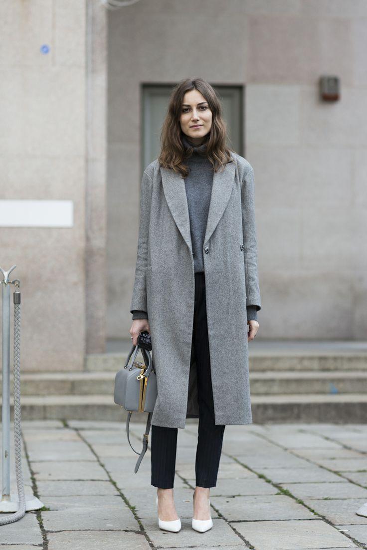 Кашемировое серое пальто