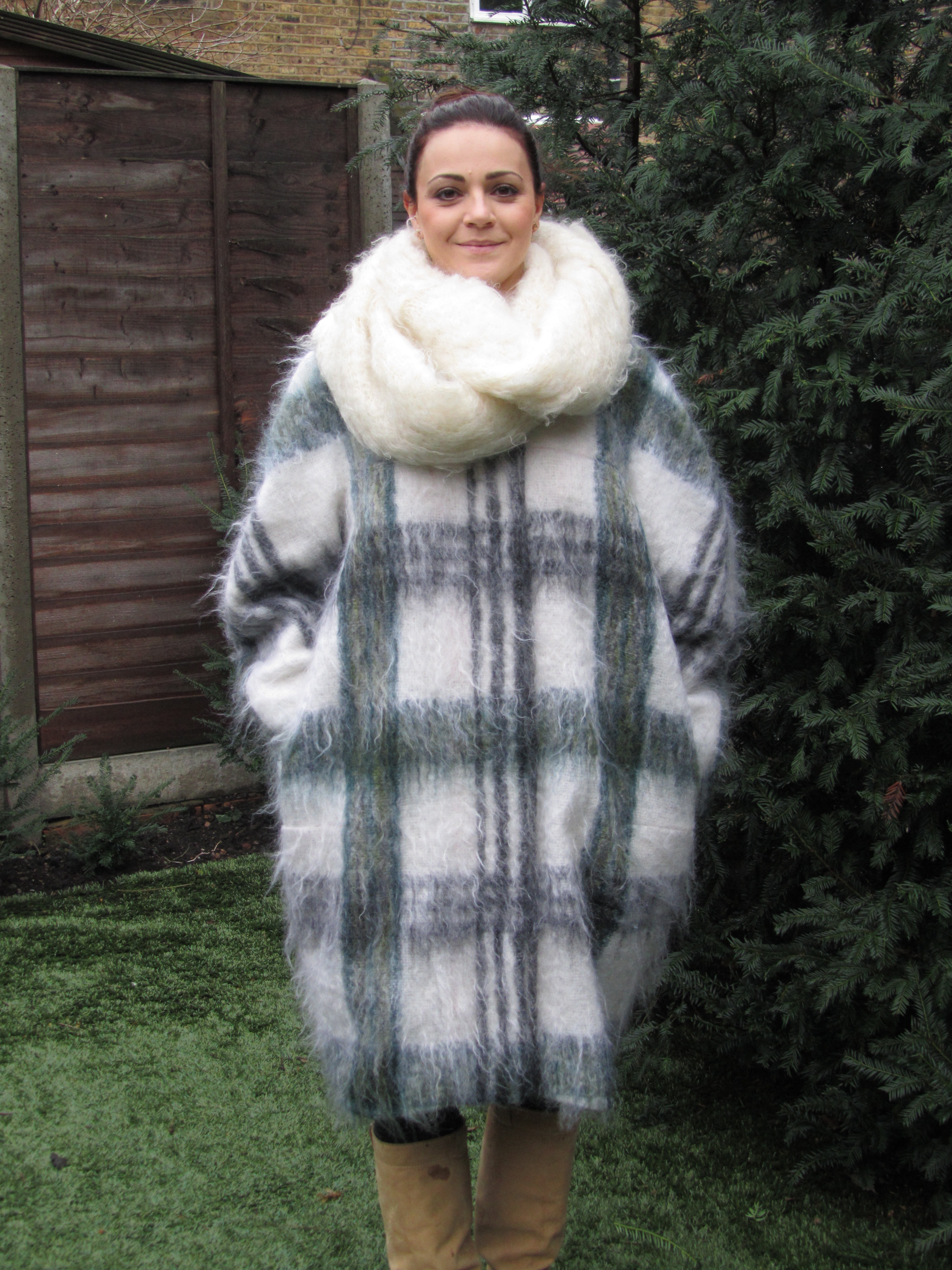 Пальто кокон в клетку