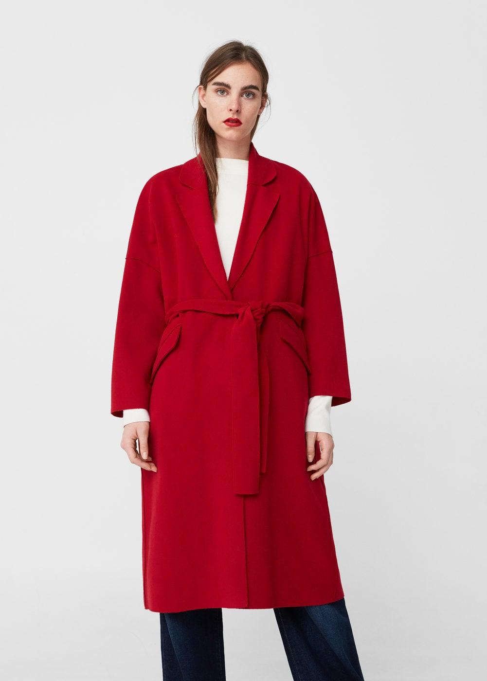 Шерстяное пальто красное