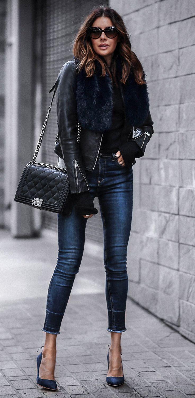 Кожаная куртка с мехом 2018