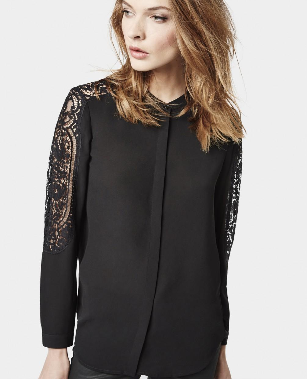 Черная блузка шелковая