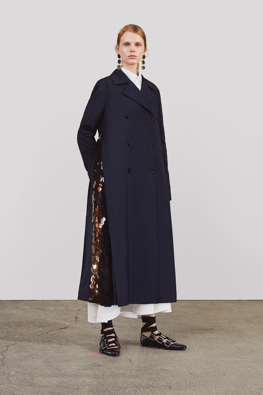 Модное шерстяное пальто трапецевидное