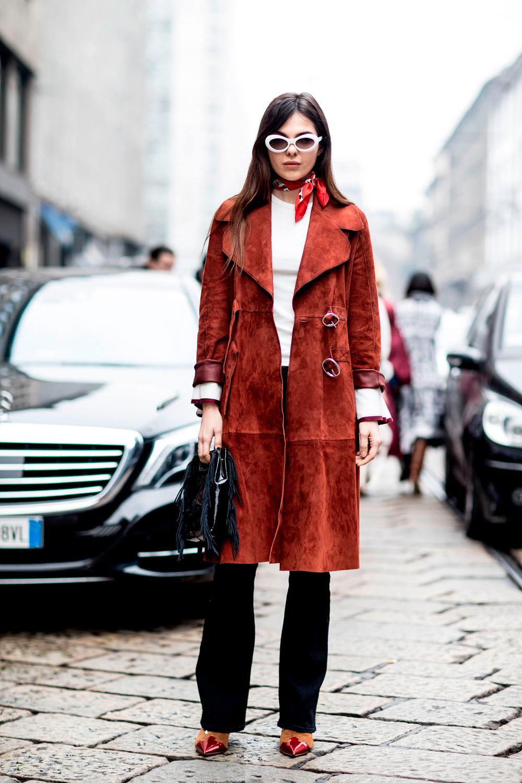 Модное замшевое пальто 2018