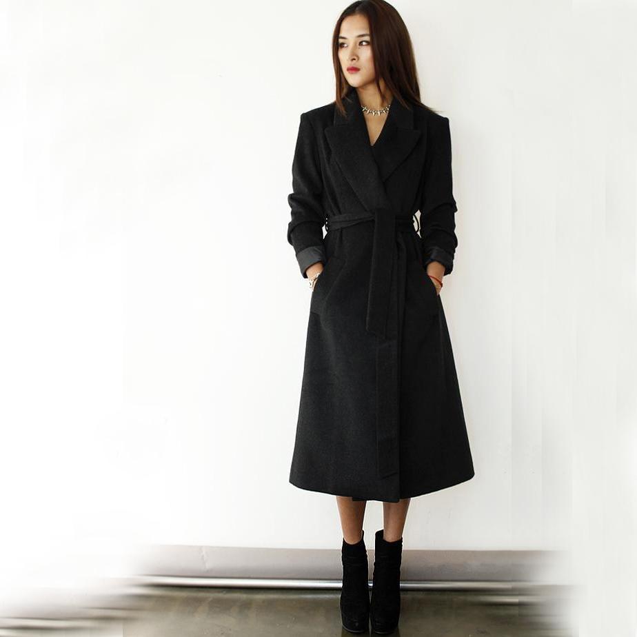 Модное шерстяное пальто с запахом